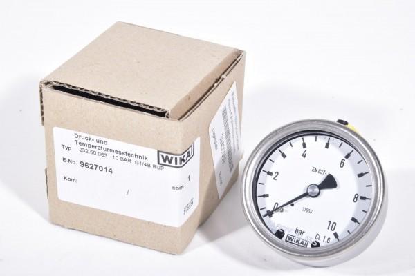 WIKA 232.50.063, Rohrfedermanometer 10 bar, Anschluss rückseitig - NEU