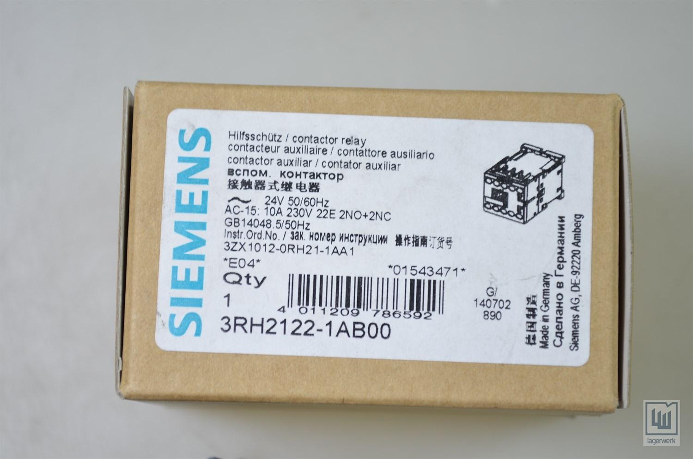 SIEMENS 3RH2122-1AB00 / 3RH2 122-1AB00, Contactor Relay, Size S00 - NEW